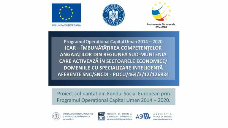 Read more about the article ICAR, ID Proiect 126834 – Îmbunătățirea Competențelor Angajaților din Regiunea Sud-Muntenia care activează în sectoarele economice/domeniile cu specializare inteligentă aferente SNC/SNCDI