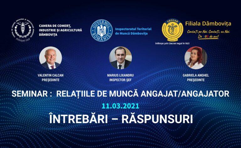 Q&A: Seminarul de informare RELAȚIILE DE MUNCĂ ANGAJAT/ ANGAJATOR, 11 martie 2021