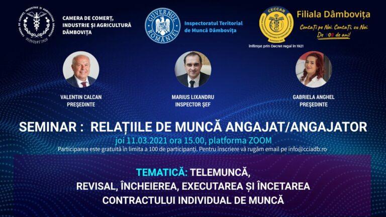 Seminarul de informare RELAȚIILE DE MUNCĂ ANGAJAT/ ANGAJATOR
